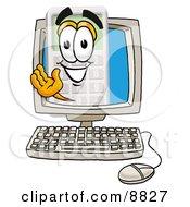 Calculator Mascot Cartoon Character Waving From Inside A Computer Screen