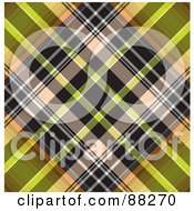 Royalty Free RF Clipart Illustration Of A Black And Green Tartan Plaid Patterned Background by MacX