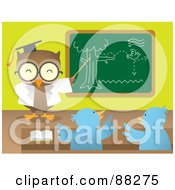 Royalty Free RF Clipart Illustration Of A Professor Owl Teaching Chicks And Pointing To A Chalk Board by Qiun