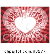 Royalty Free RF Clipart Illustration Of A White Swirl Heart On A Red Shining Background by Qiun #COLLC88277-0141