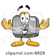 Clipart Picture Of A Camera Mascot Cartoon Character With Welcoming Open Arms