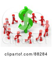 Royalty Free RF Clipart Illustration Of 3d Red Mini People Running Around A Green Dollar Symbol by Tonis Pan