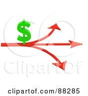 3d Green Dollar Symbol On An Arrow Splitting Three Ways