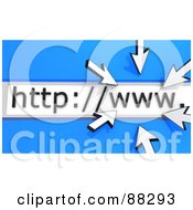 Royalty Free RF Clipart Illustration Of 3d Arrow Cursors Circling WWW In An Address Bar Over Blue by Tonis Pan
