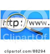 Royalty Free RF Clipart Illustration Of A 3d Golden Magnifying Glass Searching Over A Website Url Bar Over Blue by Tonis Pan