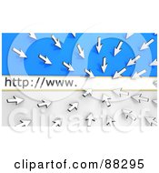 Royalty Free RF Clipart Illustration Of 3d White Arrow Cursors Pointing To A Website Address Bar Over Blue And White by Tonis Pan