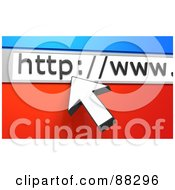 Royalty Free RF Clipart Illustration Of A 3d White Arrow Cursor Pointing To A URL Bar Over Blue And Red by Tonis Pan