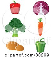 Royalty Free RF Clipart Illustration Of A Digital Collage Of Red And Green Bell Peppers Red Cabbage Broccoli A Carrot And Potatoes by Tonis Pan