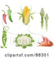 Royalty Free RF Clipart Illustration Of A Digital Collage Of Green And Red Hot Peppers Corn Asparagus Peas Cauliflower And Yams
