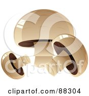 Royalty Free RF Clipart Illustration Of Three Shiny Button Mushrooms