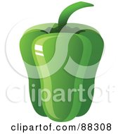 Royalty Free RF Clipart Illustration Of A Shiny Green Bell Pepper by Tonis Pan