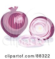 Royalty Free RF Clipart Illustration Of A Whole Shiny Purple Onion By A Sliced Onion by Tonis Pan
