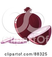Royalty Free RF Clipart Illustration Of A Whole Shiny Red Onion By A Sliced Onion by Tonis Pan