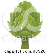 Royalty Free RF Clipart Illustration Of A Shiny Green Artichoke Head by Tonis Pan