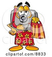 Camera Mascot Cartoon Character In Orange And Red Snorkel Gear