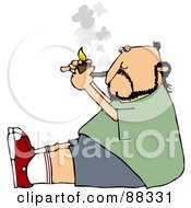 Royalty Free RF Clipart Illustration Of A Caucasian Man Sitting On The Floor And Lighting A Tobacco Pipe by djart