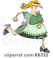 Caucasian Maiden Woman In Green Running