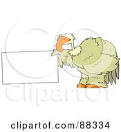 Royalty Free RF Clipart Illustration Of A Big Bird Holding Out A Blank Sign