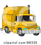 Royalty Free RF Clipart Illustration Of A Front View Of A Yellow Utility Truck