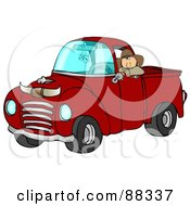 Royalty Free RF Clipart Illustration Of A Cowboy Leaning Out The Window Of His Vintage Red Pickup Truck With Horns On The Hood