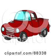 Royalty Free RF Clipart Illustration Of A Vintage Red Pickup Truck With A Metal Grille by Dennis Cox