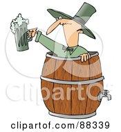 Skinny Man In A Beer Keg Holding Up Green Beer