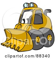 Royalty Free RF Clipart Illustration Of A Parked Yellow Mini Loader by Dennis Cox