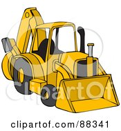 Royalty Free RF Clipart Illustration Of A Parked Yellow Backhoe