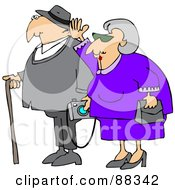Royalty Free RF Clipart Illustration Of A Senior Woman Waving And Walking By Her Husband Who Is Carrying A Camera And Using A Cane