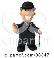 3d Guy Gentleman Holding His Thumb Up