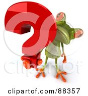 Royalty Free RF Clipart Illustration Of A 3d Springer Frog Holding Up A Question Mark