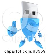 Royalty Free RF Clipart Illustration Of A 3d Blue USB Character Holding His Thumb Up by Julos