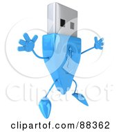 Royalty Free RF Clipart Illustration Of A 3d Blue USB Character Jumping by Julos