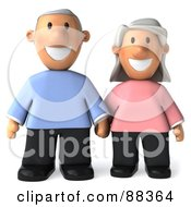 Royalty Free RF Clipart Illustration Of A 3d Senior Couple Holding Hands And Facing Front