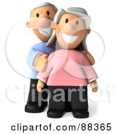 3d Senior Couple Standing And Facing Front