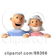3d Senior Couple Smiling And Holding Up A Blank Sign Board