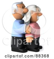 Royalty Free RF Clipart Illustration Of A 3d Senior Couple Standing And Facing Right