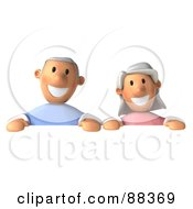 3d Senior Couple Standing Behind A Blank Sign Board