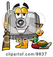 Clipart Picture Of A Camera Mascot Cartoon Character Duck Hunting Standing With A Rifle And Duck by Toons4Biz