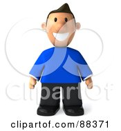 Royalty Free RF Clipart Illustration Of A 3d Casual Man Standing And Facing Front