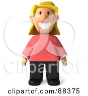 Royalty Free RF Clipart Illustration Of A 3d Casual Woman Standing And Facing Front