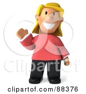 Royalty Free RF Clipart Illustration Of A 3d Casual Woman Facing Front And Waving