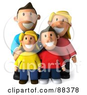 3d Happy Caucasian Family Posing And Facing Front