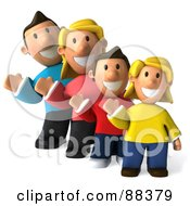 3d Happy Caucasian Family In A Row Waving And Facing Front