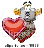 Clipart Picture Of A Camera Mascot Cartoon Character With An Open Box Of Valentines Day Chocolate Candies