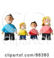 Royalty Free RF Clipart Illustration Of A 3d Happy Caucasian Family Standing In A Row And Facing Front