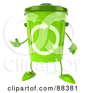 Royalty Free RF Clipart Illustration Of A 3d Green Recycle Bin Character Gesturing