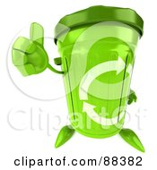 Royalty Free RF Clipart Illustration Of A 3d Green Recycle Bin Character Holding His Thumb Up by Julos