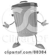 Royalty Free RF Clipart Illustration Of A 3d Trash Can Standing And Facing Front by Julos