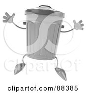 Royalty Free RF Clipart Illustration Of A 3d Trash Can Jumping